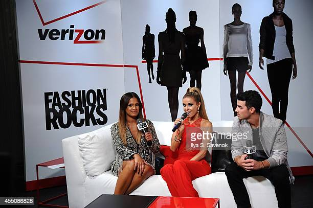 TV personality Rocsi Diaz model Carmen Electra and musician Joe Jonas attend Garnier Maybelline New York and Verizon Backstage at Fashion Rocks 2014...