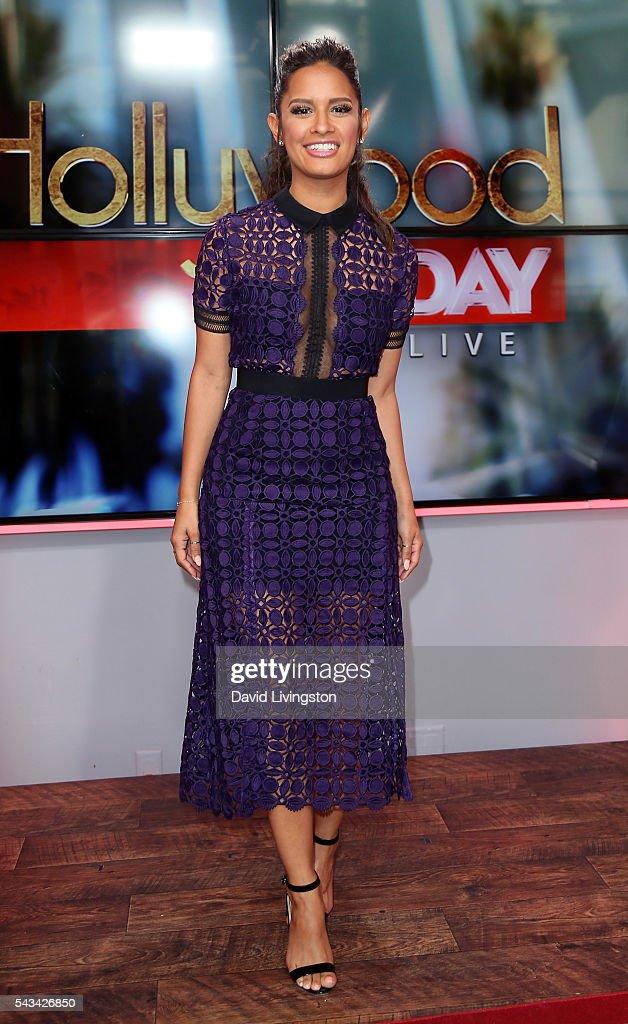 Rocsi Diaz, Apolo Ohno And Charlie Ebersol Visit Hollywood Today Live : Foto jornalística