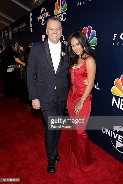TV personality Ross Mathews and actress Karrueche Tran attend the Universal NBC Focus Features E Entertainment Golden Globes after party sponsored by...