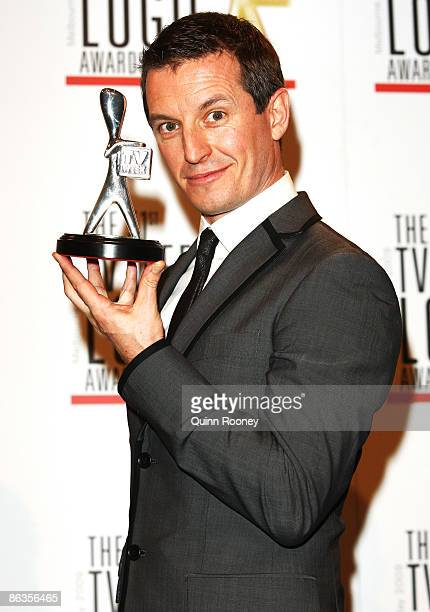 TV personality Rove McManus poses with the award for Most Popular Presenter during the 51st TV Week Logie Awards at the Crown Towers Hotel and Casino...