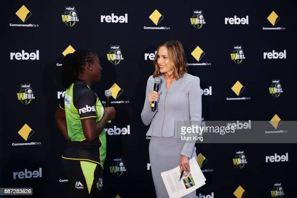 TV personality Roz Kelly speaks to Stefanie Taylor of the Sydney Thunder during the 201718 WBBL Women's Big Bash League season launch at...