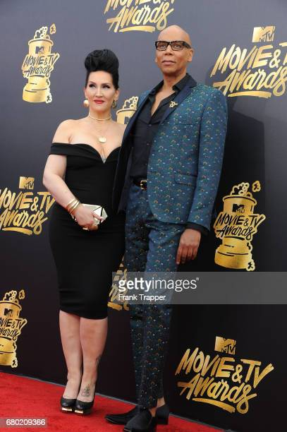 TV personality RuPaul and producer Michelle Visage arrive at the 2017 MTV Movie And TV Awards at The Shrine Auditorium