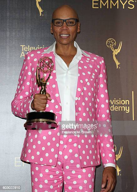TV personality RuPaul Charles winner of Outstanding Host For A Reality Or RealityCompetition Program poses in the press room during the 2016 Creative...