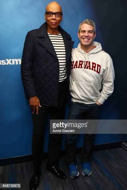 TV personality RuPaul poses with SiriusXM host Andy Cohen during a taping of SiriusXM's Radio Andy at the SiriusXM Studios on March 6 2017 in New...