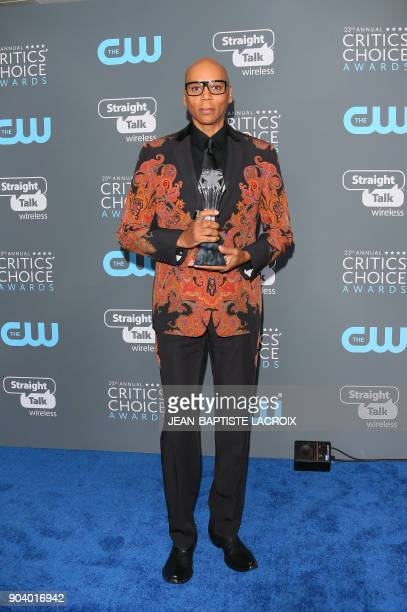 TV personality RuPaul winner of Best Reality Show Host attends the 23rd annual Critics' Choice Awards Press Room at the Barker Hangar on January 11...