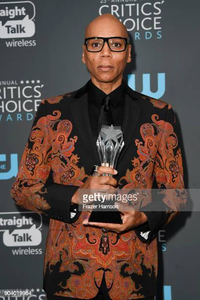 TV personality RuPaul winner of Best Reality Show Host poses in the press room during The 23rd Annual Critics' Choice Awards at Barker Hangar on...