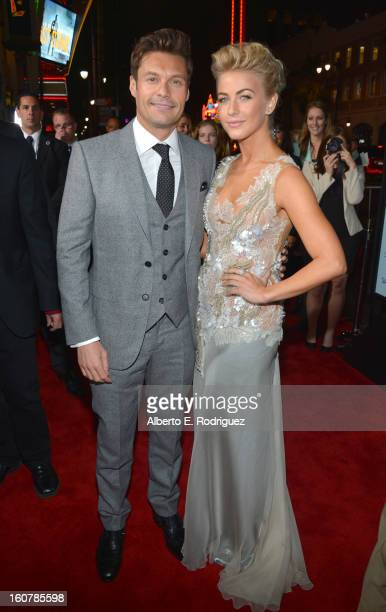 """Personality Ryan Seacrest and actress Julianne Hough arrive at the premiere of Relativity Media's """"Safe Haven"""" at TCL Chinese Theatre on February 5,..."""