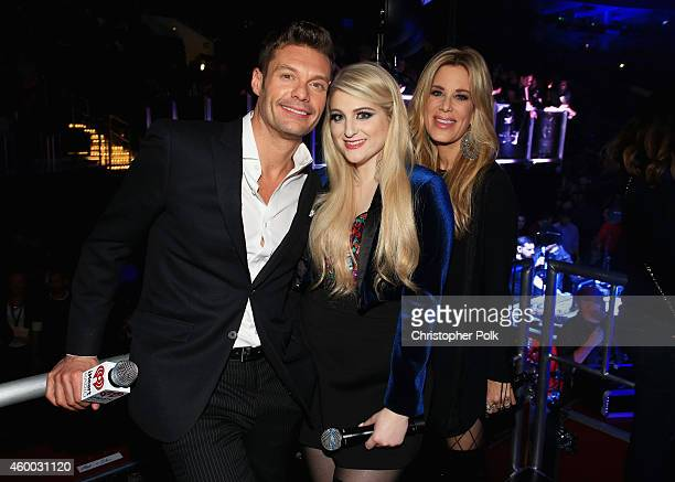 TV personality Ryan Seacrest singer Meghan Trainor and DJ Ellen K attend KIIS FM's Jingle Ball 2014 powered by LINE at Staples Center on December 5...