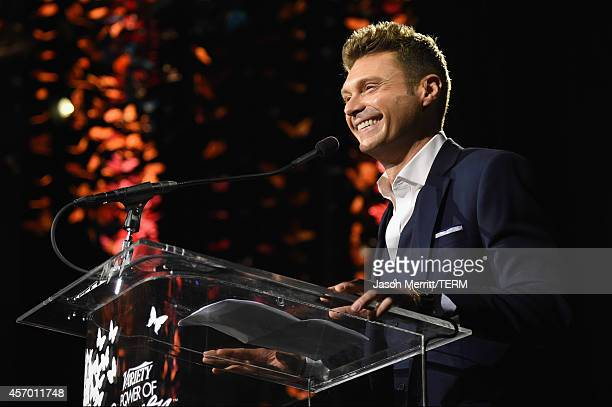 Personality Ryan Seacrest speaks onstage at the 2014 Variety Power of Women presented by Lifetime at Beverly Wilshire Four Seasons on October 10 2014...