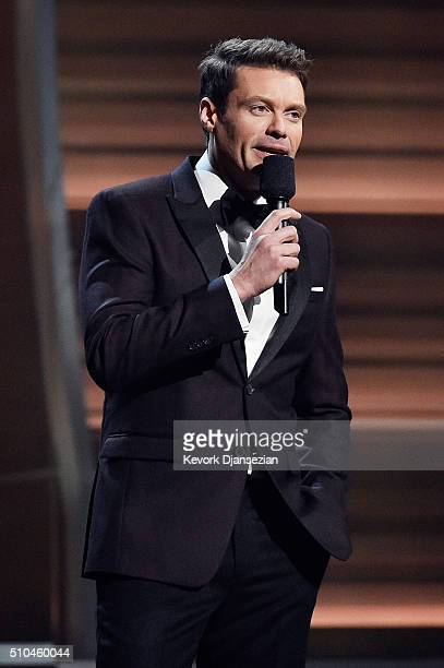 TV personality Ryan Seacrest speaks onstage during The 58th GRAMMY Awards at Staples Center on February 15 2016 in Los Angeles California