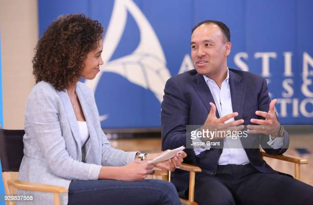 TV personality Sage Steele and NBA Deputy Commissioner and Chief Operating Officer Mark Tatum during a Facebook Live session at SXSW held at Austin...
