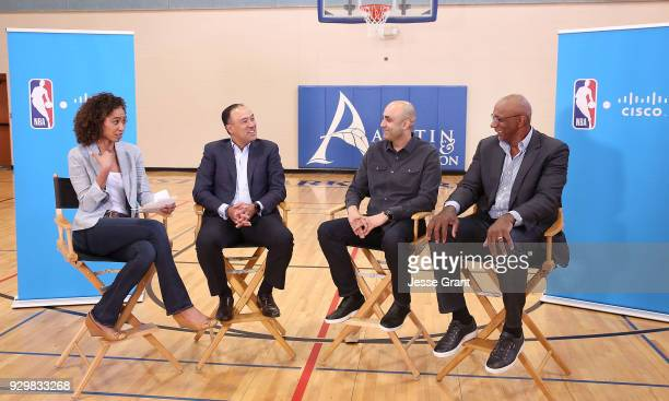 TV personality Sage Steele NBA Deputy Commissioner and Chief Operating Officer Mark Tatum Cisco Chief Technologist Chintan Patel and NBA hall of...