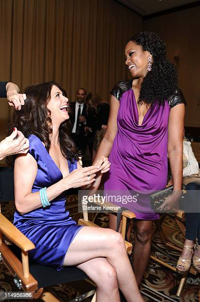 TV Personality Samantha Harris and actress Garcelle Beauvais atten the 18th Annual Race to Erase MS event cochaired by Nancy Davis and Tommy Hilfiger...