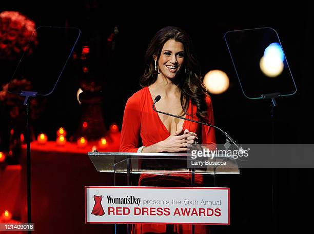 TV personality Samantha Harris speaks onstage during the 6th Annual Woman's Day Red Dress Awards at the Allen Room in Frederick P Rose Hall Jazz at...