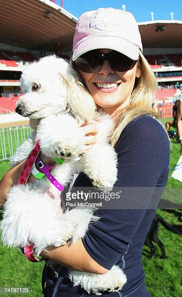 TV personality Sami Lukis and her dog Loli take part in the RSPCA Million Paws Walk at Sydney Olympic Park on May 20 2007 in Sydney Australia The...