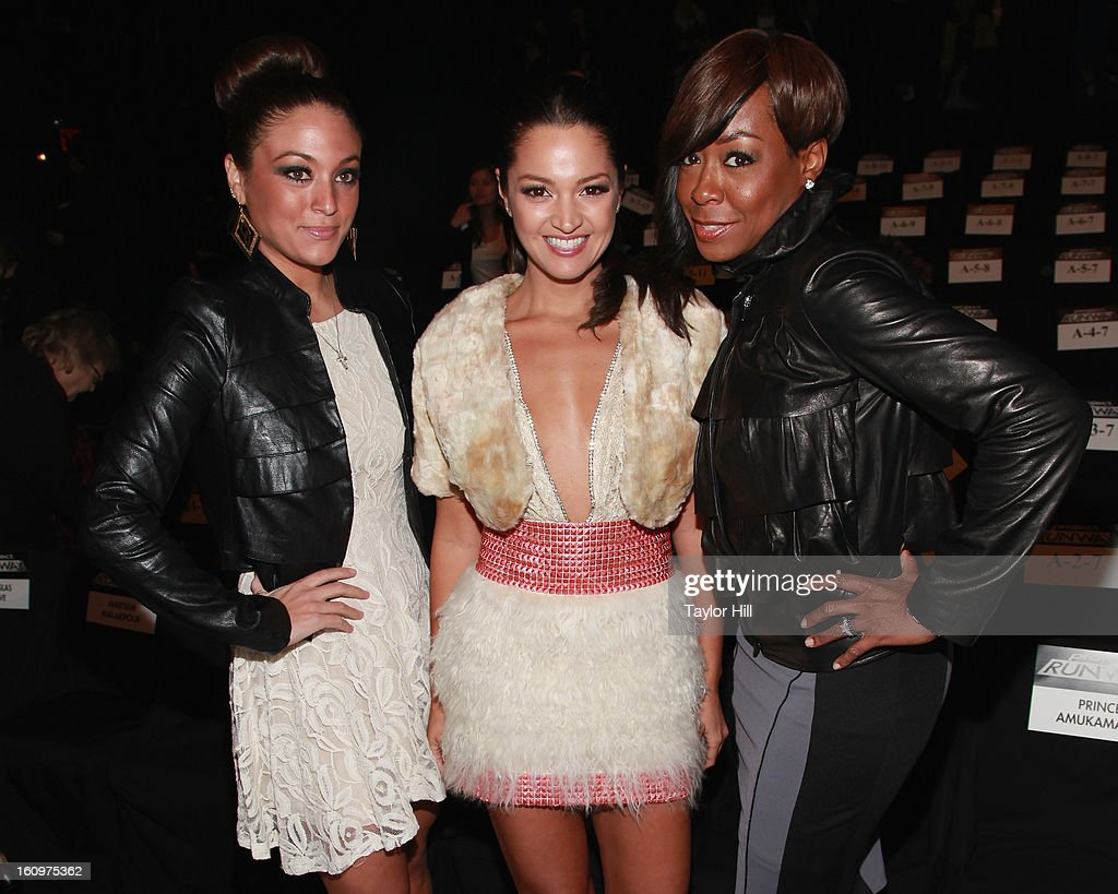 TV personality Sammi Giancola, actress Paula Garces, and actress Tichina Arnold attend the Project Runway Fall 2013 Mercedes-Benz Fashion Show at The Theater at Lincoln Center on February 8, 2013 in New York City.