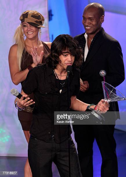 TV personality Sanjaya Malakar accepts the Favorite Loser award onstage during the 2007 Fox Reality Channel Really Awards held at Boulevard 3 on...