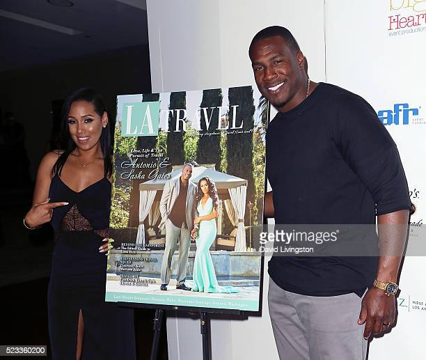 TV personality Sasha Dindayal and husband NFL player Antonio Gates attend Los Angeles Travel Magazine's release of its 2016 spring issue at Andaz...