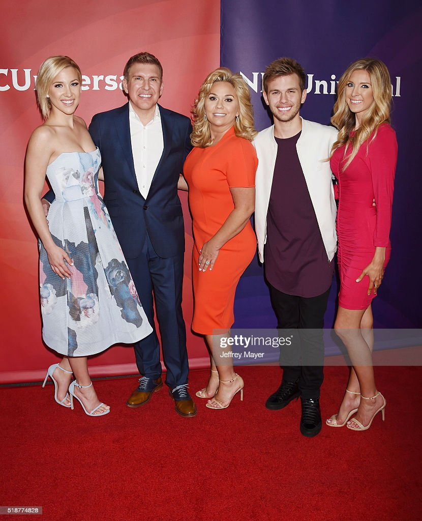 TV personality Savannah Chrisley, producer/TV personality and TV personalities Julie Chrisley, Chase Chrisley and Lindsie Chrisley arrive at the 2016 Summer TCA Tour - NBCUniversal Press Tour at the Four Seasons Hotel - Westlake Village on April 1, 2016 in Westlake Village, California.