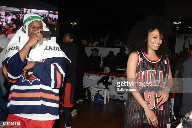 TV personality Scoop Makhathini and TV actress Pearl Thusi at the NBA Africa Celebrity Basketball Game on August 03 2017 in Johannesburg South Africa...