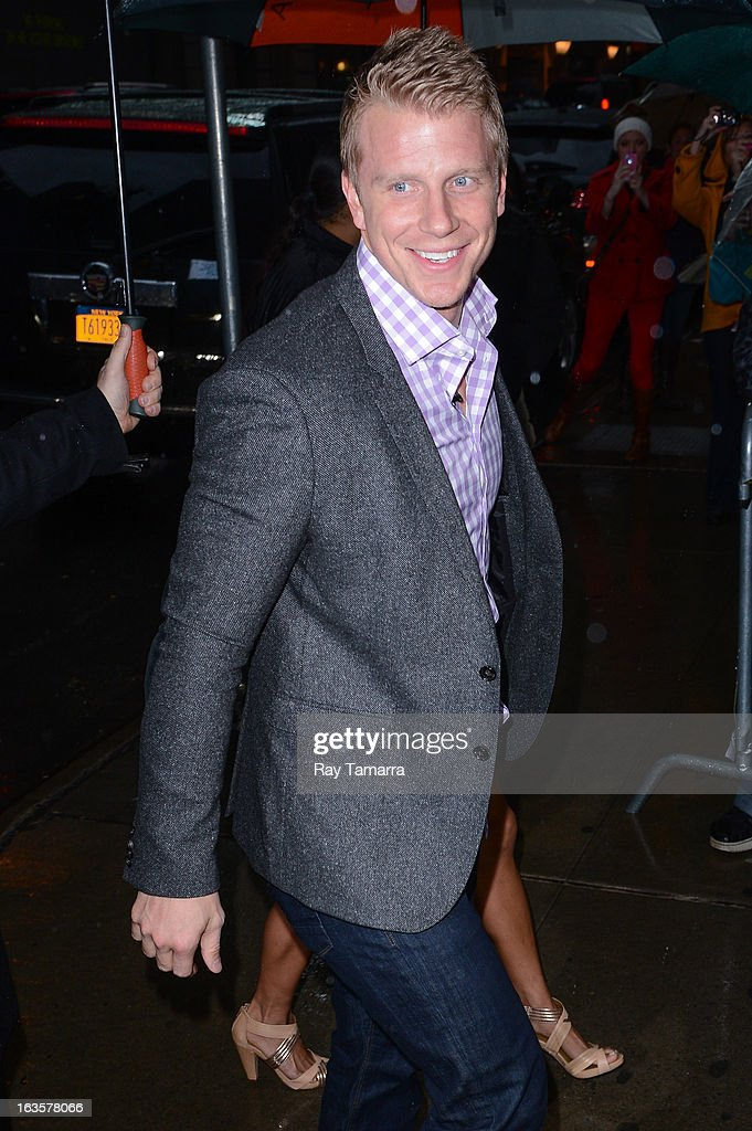 TV personality Sean Lowe enters the 'Good Morning America' taping at the ABC Times Square Studios on March 12, 2013 in New York City.