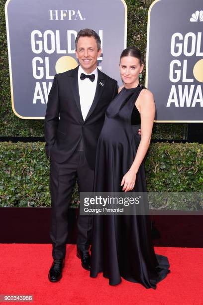 TV personality Seth Meyers and Alexi Ashe attend The 75th Annual Golden Globe Awards at The Beverly Hilton Hotel on January 7 2018 in Beverly Hills...