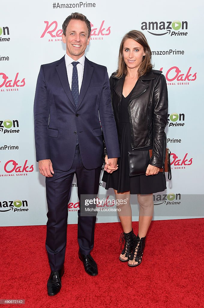TV Personality Seth Meyers and Alexi Ashe attend the Amazon red carpet premiere for the brand new original comedy series 'Red Oaks' on September 29, 2015 in New York City.