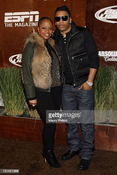 TV personality Shante Broadus and musician Nelly arrive at the ESPN Magazine NEXT Party held at the NEXT Ranch on February 4 2011 in Fort Worth Texas