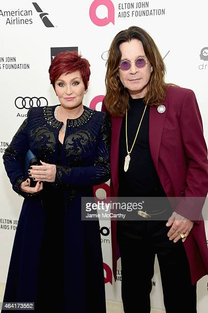 Personality Sharon Osbourne and Musician Ozzie Osbourne attend the 23rd Annual Elton John AIDS Foundation Academy Awards Viewing Party on February 22...