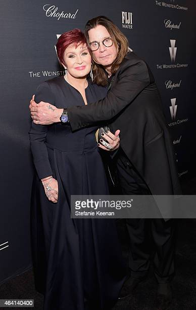 TV personality Sharon Osbourne and recording artist Ozzy Osbourne attend The Weinstein Company's Academy Awards Nominees Dinner in partnership with...