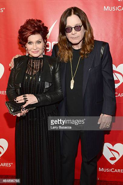 TV personality Sharon Osbourne and recording artist Ozzy Osbourne attend 2014 MusiCares Person Of The Year Honoring Carole King at Los Angeles...