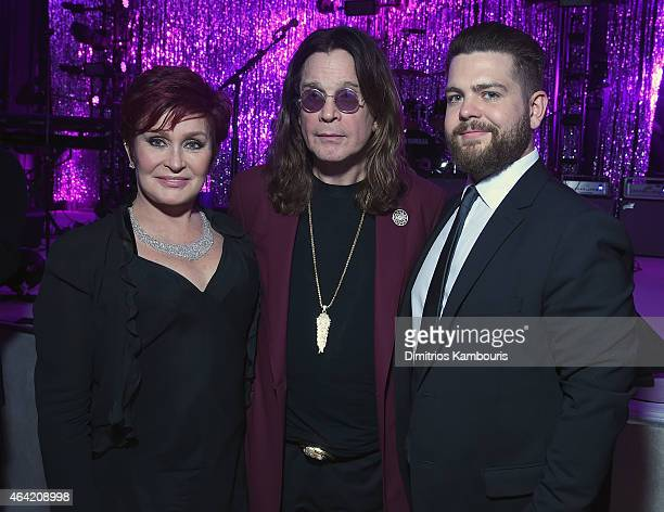 Personality Sharon Osbourne, musician Ozzy Osbourne, and Jack Osbourne attend the 23rd Annual Elton John AIDS Foundation Academy Awards Viewing Party...