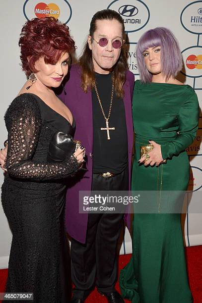 TV personality Sharon Osbourne singer Ozzy Osbourne and TV personality Kelly Osbourne attend the 56th annual GRAMMY Awards PreGRAMMY Gala and Salute...