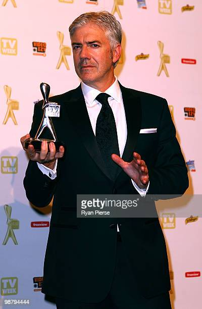 TV personality Shaun Micallef of Talkin Bout Your Generation poses with the Silver Logie for most popular light entertainment program in the 52nd TV...