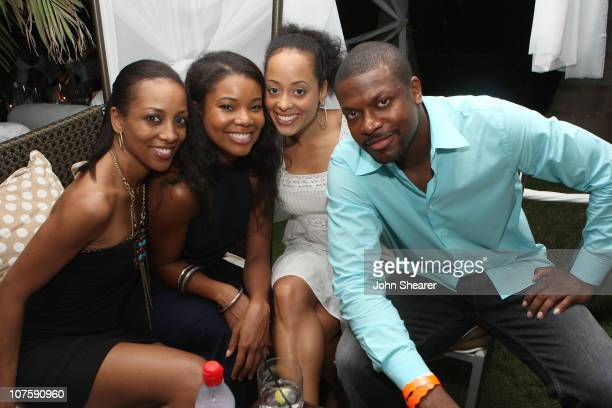 TV personality Shaun Robinson actress Gabrielle Union actress Essence Atkins and actor Chris Tucker attend the Soiree at the Somerset Hotel presented...