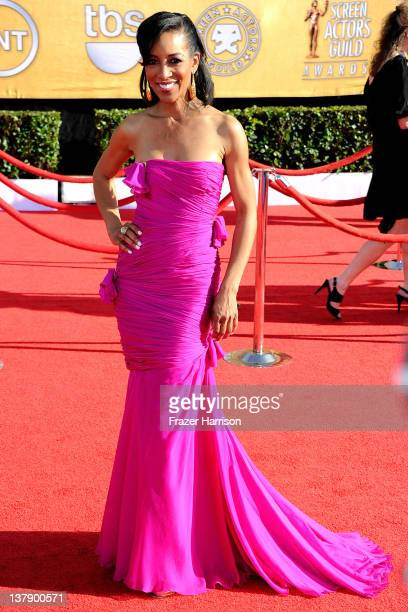TV personality Shaun Robinson arrives at the 18th Annual Screen Actors Guild Awards at The Shrine Auditorium on January 29 2012 in Los Angeles...