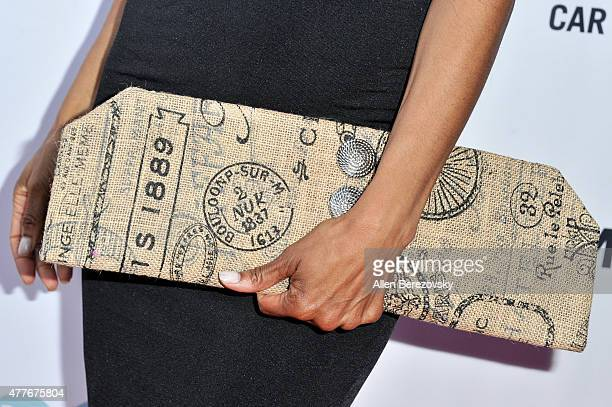 TV personality Shaun Robinson clutch detail attends the Black AIDS Institute 2015 Heroes in the Struggle Reception Gala and Awards Ceremony at...