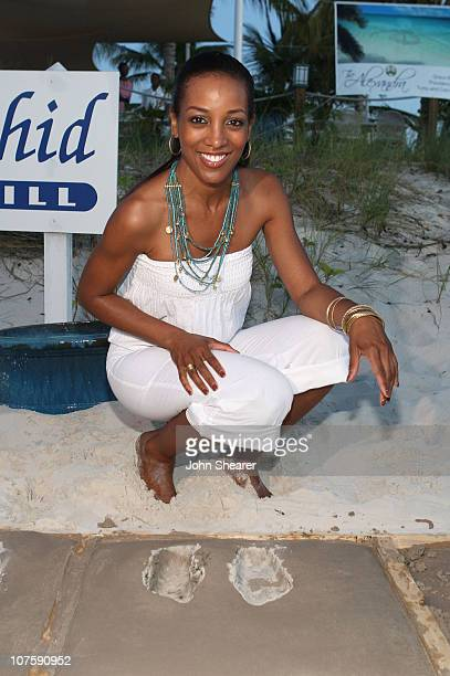 TV personality Shaun Robinson participates in Footprints in the Sand at the Alexandra Hotel during the Turks and Caicos Film Festival on October 19...