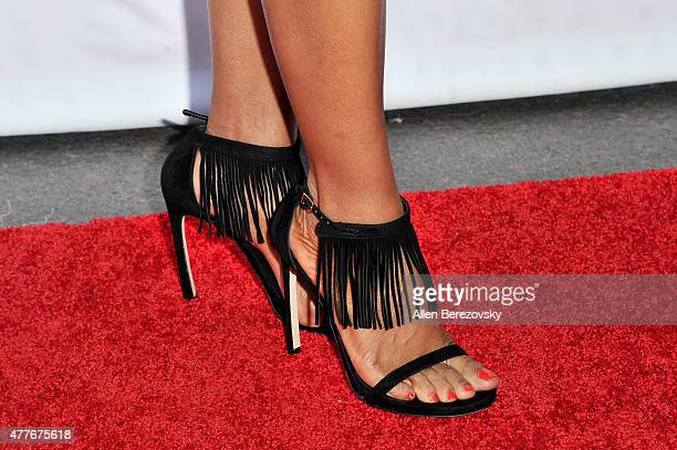 TV personality Shaun Robinson shoe detail attends the Black AIDS Institute 2015 Heroes in the Struggle Reception Gala and Awards Ceremony at...