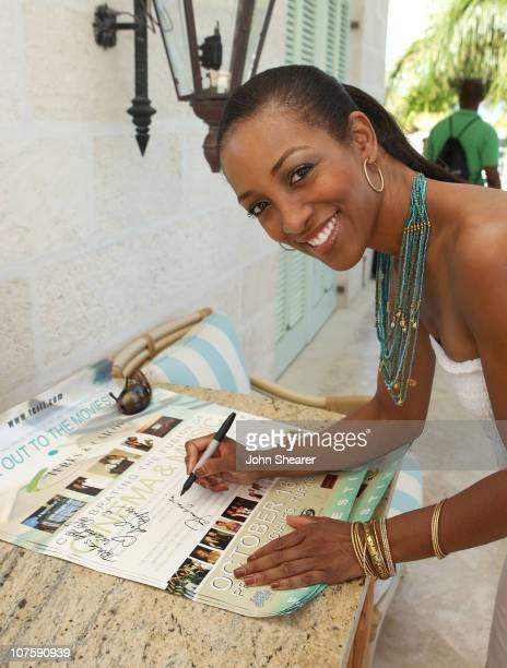 TV personality Shaun Robinson signs autographs at Youth Arts Day at the Palms Hotel during Turks and Caicos Film Festival on October 19 2007 in Turks...