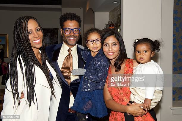 TV Personality Shaun Robinson Singer/Songwriter Eric Benet daughter Lucia Bella humanitarian/wife Manuela Testolini and daughter Amoura Luna attend...