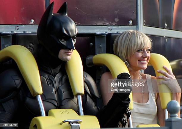 TV personality Shelley Craft takes a ride on a rollercoaster during filming for an outdoor broadcast at Movie World theme park on October 5 2009 in...