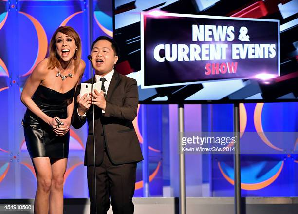 Personality Shira Lazar and actor Matthew Moy speak onstage during the 4th Annual Streamy Awards presented by Coca-Cola on September 7, 2014 in...