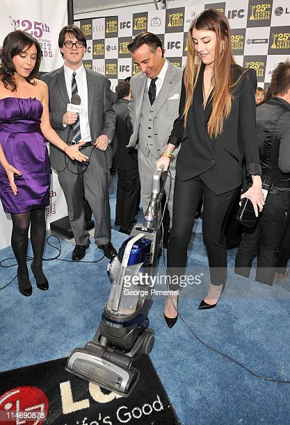TV personality Shira Lazar Mark Olsen actor Andy Garcia and Dominik GarciaLorido with the LG Electronics Kompressor Vacuum on The 25th Spirit Awards...