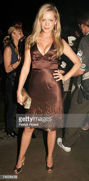 TV personality Sophie Falkiner arrives for the catwalk show by designer Alex Perry on day one of Rosemount Australian Fashion Week Spring/Summer...