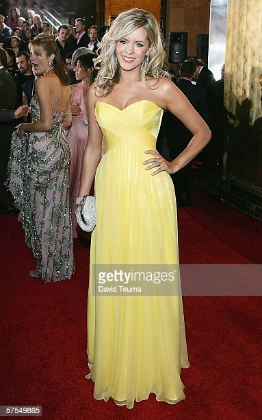 TV personality Sophie Falkiner poses as she arrives for the 2006 TV Week Logie Awards at the Crown Entertainment Complex on May 7 2006 in Melbourne...