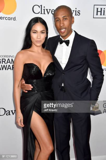 TV personality Stephanie Shepherd and iTunes/Apple Music Head of Content Larry Jackson attend the Clive Davis and Recording Academy PreGRAMMY Gala...