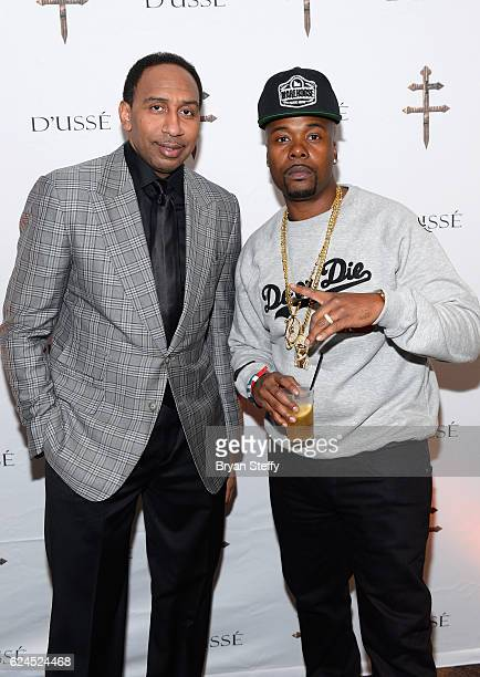 TV personality Stephen A Smith and rapper Memphis Bleek attend the D'USSE Lounge at Kovalev vs Ward at TMobile Arena on November 19 2016 in Las Vegas...