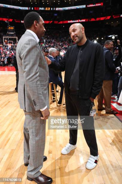 ESPN personality Stephen A Smith speaks to Rich Kleiman before Game One of the NBA Finals between the Golden State Warriors and the Toronto Raptors...