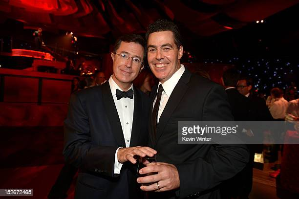TV personality Stephen Colbert and comedian Adam Carolla attend the 64th Annual Primetime Emmy Awards Governors Ball at Nokia Theatre LA Live on...